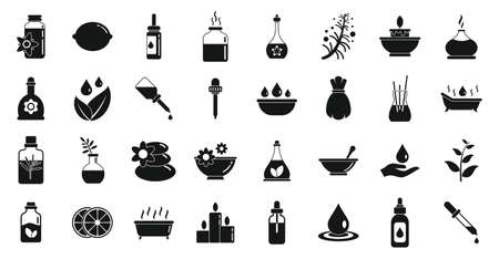 Essential oils icons set, simple style
