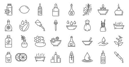 Essential oils perfume icons set, outline style
