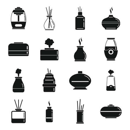 Diffuser aroma icons set, simple style