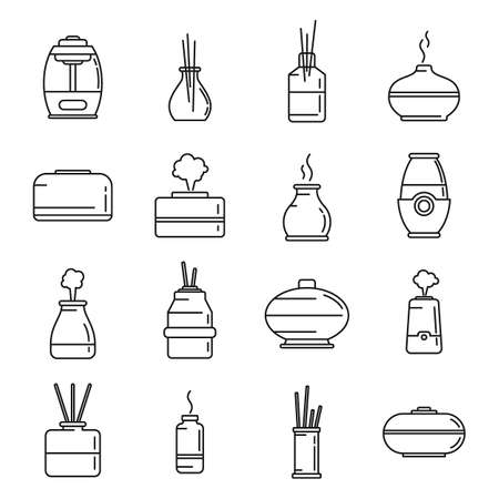 Diffuser   icons set, outline style Illustration