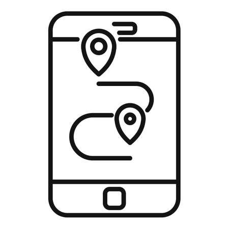 Hitchhiking smartphone route icon, outline style Ilustración de vector