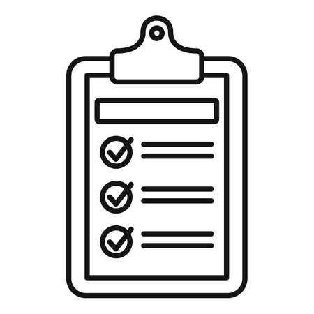 Syllabus daily clipboard icon, outline style Ilustración de vector