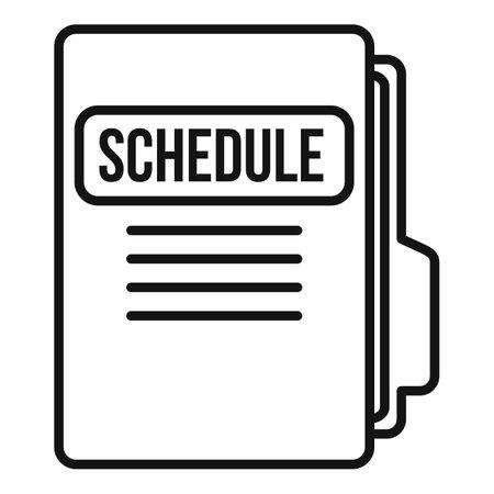 Syllabus folder schedule icon, outline style Ilustración de vector