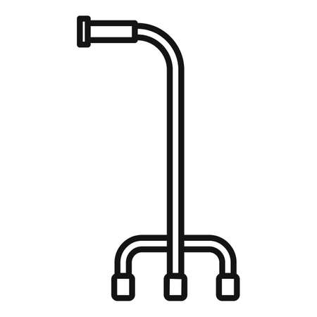 Retirement walking stick icon, outline style