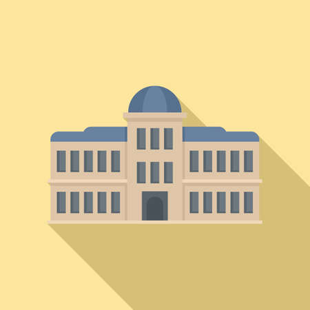 Parliament architecture icon, flat style