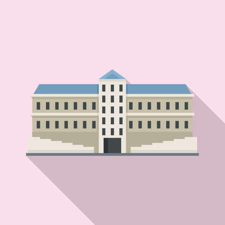 Residential parliament icon, flat style