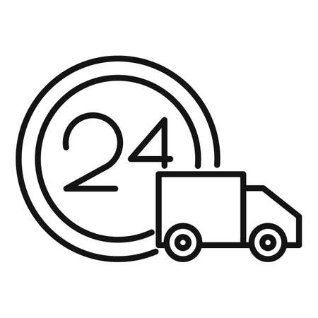 24 hour home delivery icon, outline style Vettoriali