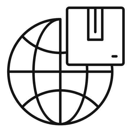 Global home delivery icon, outline style Vettoriali