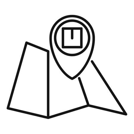 Home delivery map icon, outline style Vettoriali