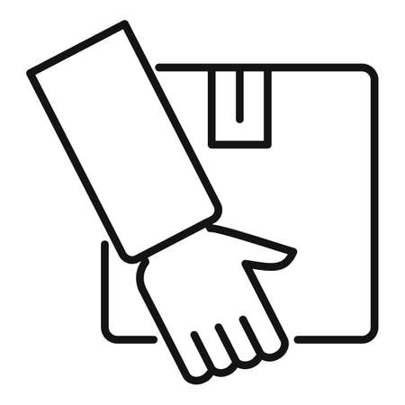 Parcel home delivery icon, outline style