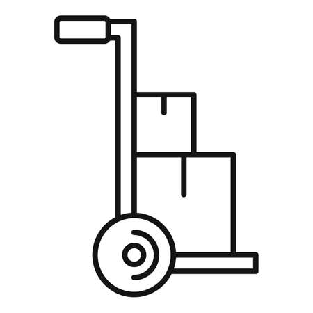 Parcel cart home delivery icon, outline style