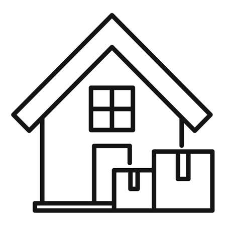 Fast home delivery icon, outline style