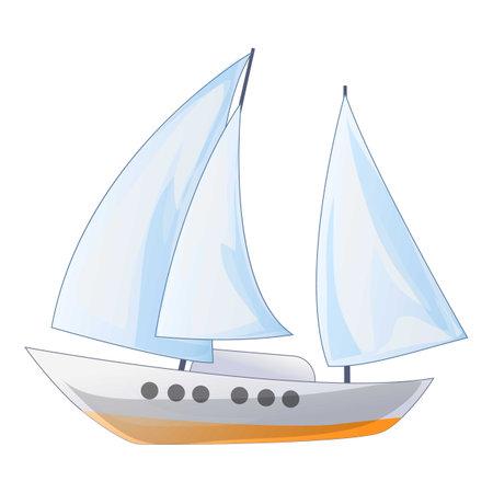 Ship yacht icon, cartoon style Vector Illustration