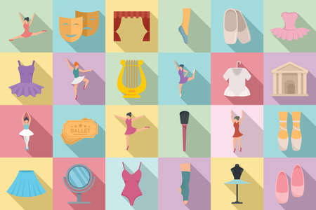 Ballet icons set, flat style Vettoriali