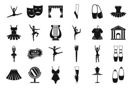 Ballet dance icons set, simple style Vettoriali