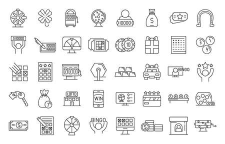 Lottery icons set, outline style