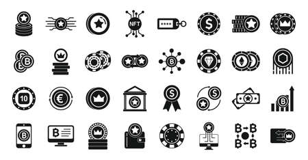 Tokens icons set, simple style