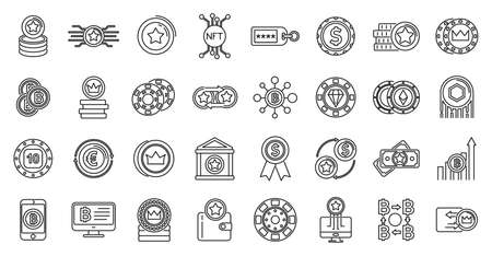 Tokens coins icons set, outline style