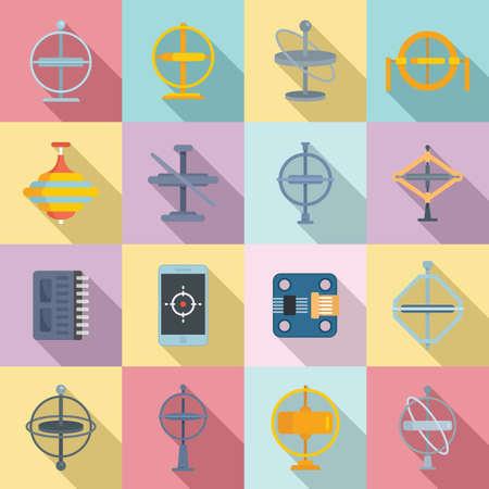Gyroscope icons set, flat style Vettoriali