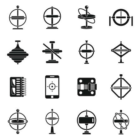 Gyroscope tool icons set, simple style Vettoriali