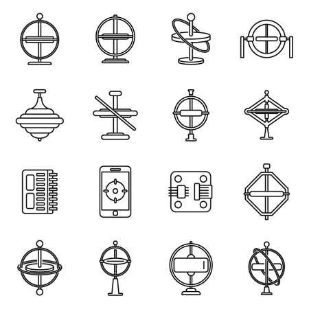 Gyroscope instrument icons set, outline style