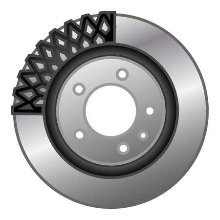 Car brake disc component icon, cartoon style