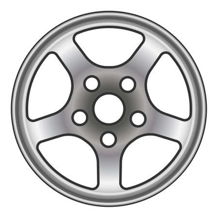 Car wheel icon, cartoon style