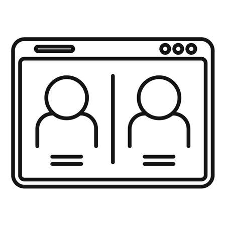 Chat online meeting icon, outline style Иллюстрация