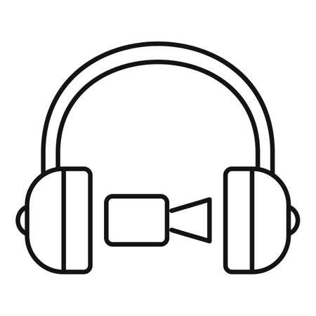 Headphones online meeting icon, outline style Иллюстрация