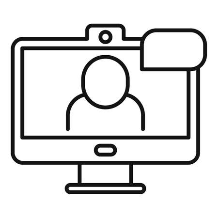 Hd online meeting icon, outline style