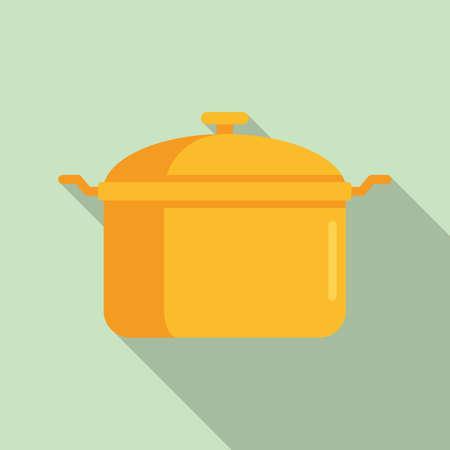 Saucepan icon, flat style