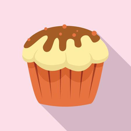 Cupcake icon, flat style Иллюстрация