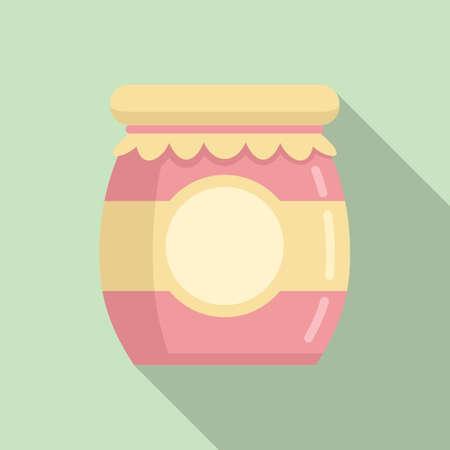 Jam jar icon, flat style