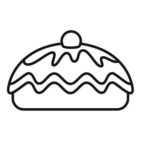 Cherry cake icon, outline style
