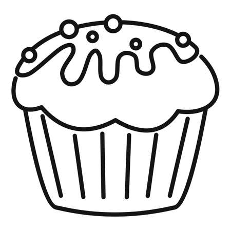 Cupcake icon, outline style