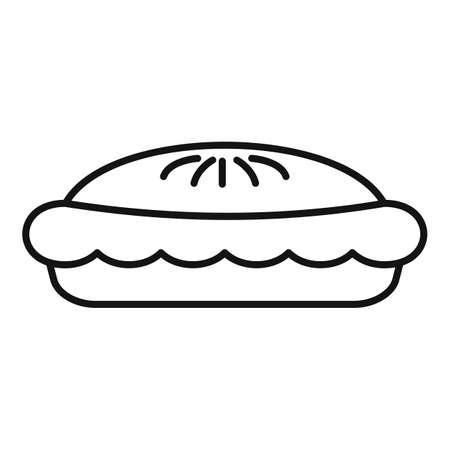Chocolate pie icon, outline style Иллюстрация