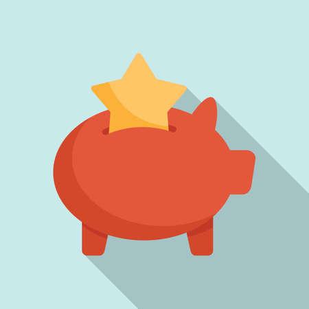Bonus piggybank icon, flat style Иллюстрация