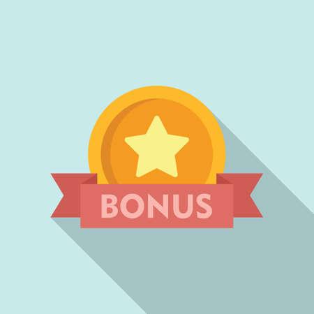 Bonus coin icon, flat style