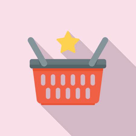 Sale bonus basket icon, flat style