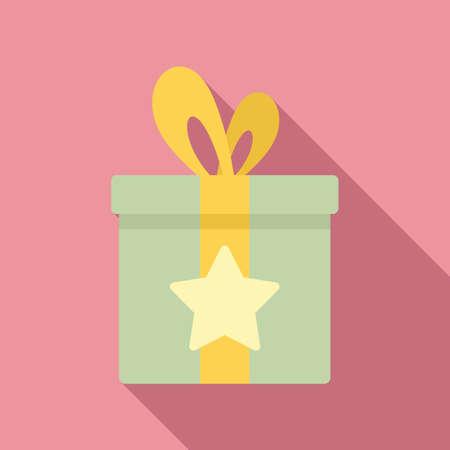Sale bonus gift box icon, flat style