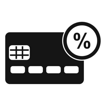 Credit card percent bonus icon, simple style