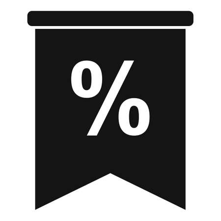 Percent sale flag icon, simple style