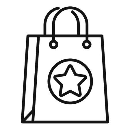 Sale bonus bag icon, outline style