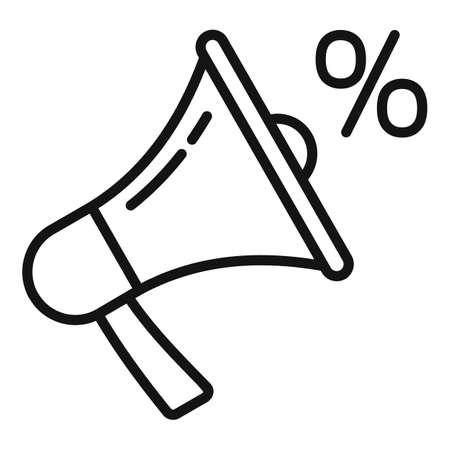 Sale bonus megaphone icon, outline style Иллюстрация