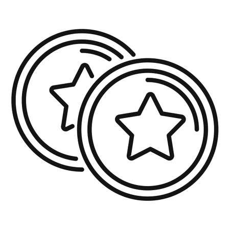 Sale bonus coins icon, outline style