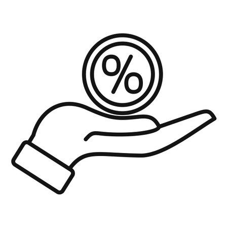 Bonus percent icon, outline style
