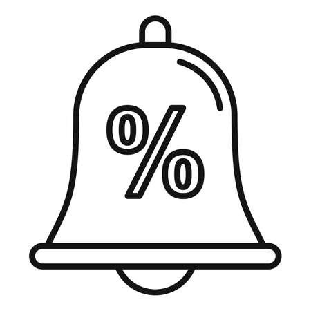 Bonus bell icon, outline style