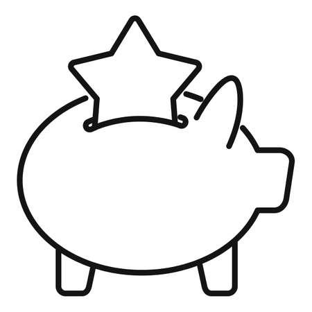 Bonus piggybank icon, outline style