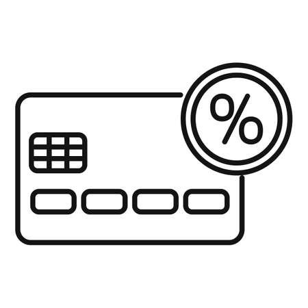 Credit card percent bonus icon, outline style Иллюстрация