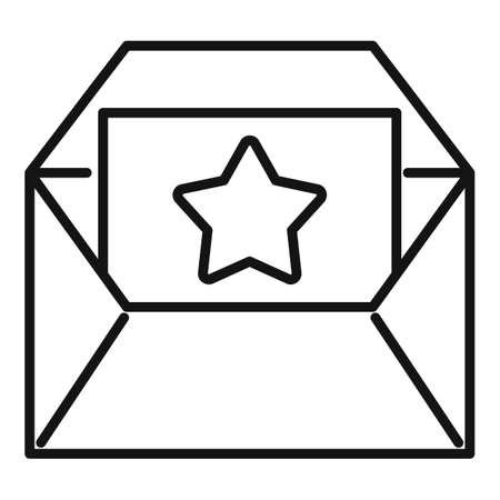 Bonus envelope icon, outline style Иллюстрация
